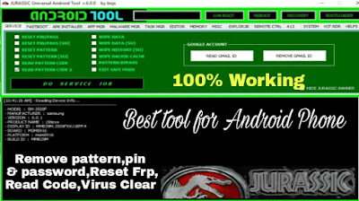 Jurassic Uni Android Tool 6.0 | Read/remove pattern,Pin,Password | Reset Frp Lock 2020
