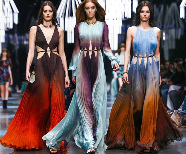 Roberto Cavalli 2015 AW Color Gradient Chiffon Dress on Runway