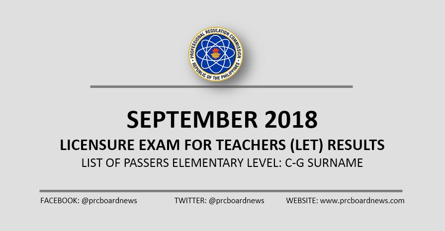 LIST: C-G Passers September 2018 LET Results Elementary