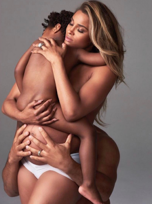 Ciara, her son and Russell Wilson semi-nude for Harpers Bazaar