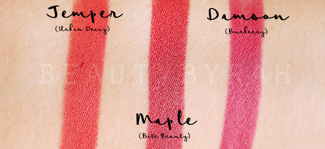 swatches-of-temper-urban-decay-maple-bite-beauty-and-damson-burberry