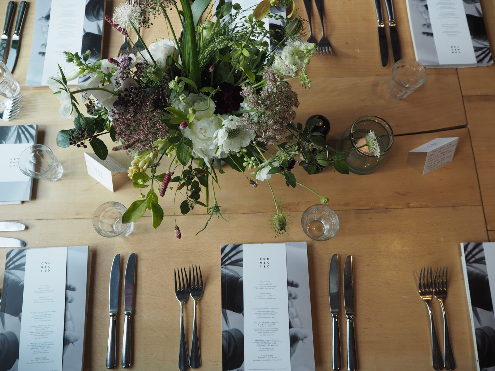Floral table setting at Grain Store, London