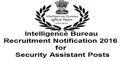 IB Recruitment Notification 2016