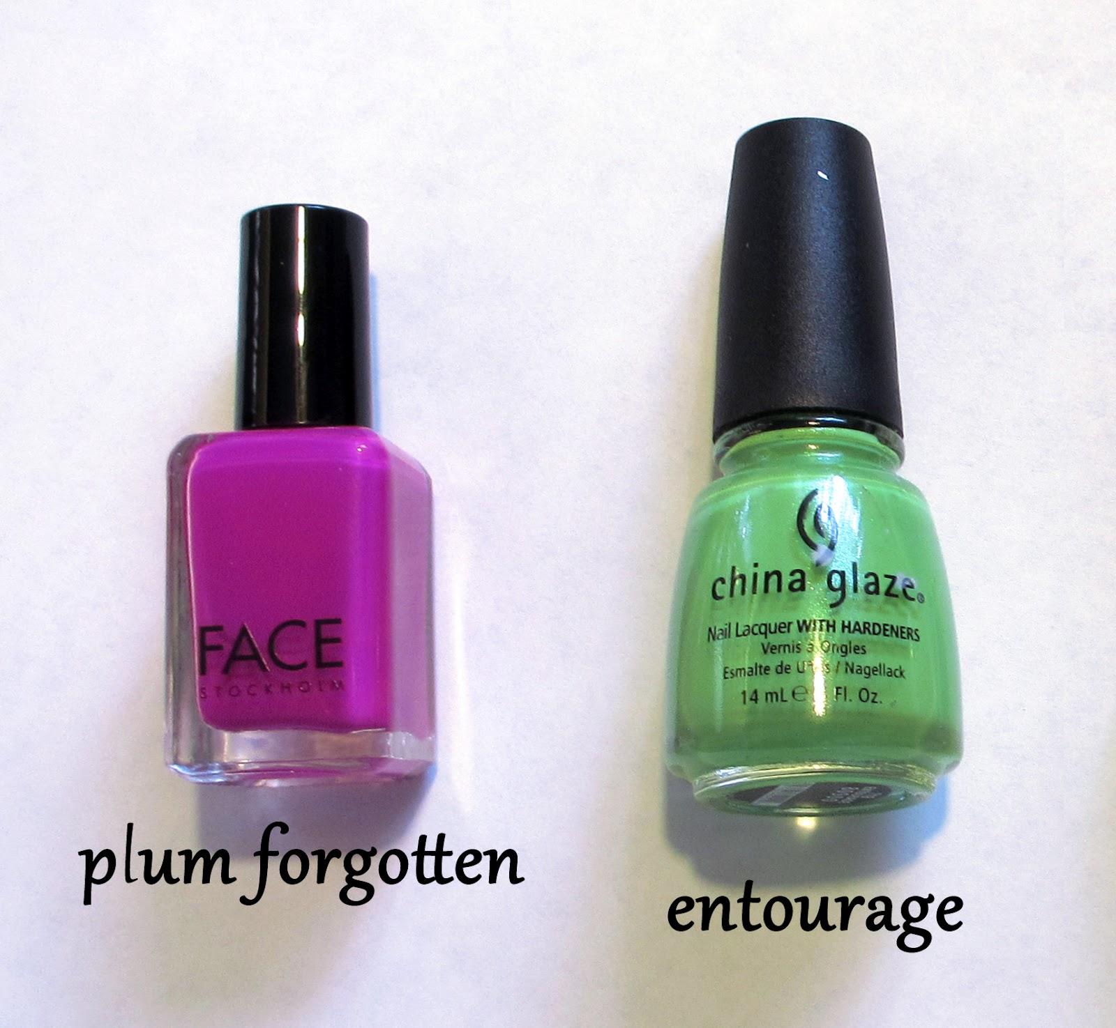 Two Tone Nail Polish Fade: In Pursuit Of Polish: Mod Plum & Green Two Tone Manicure