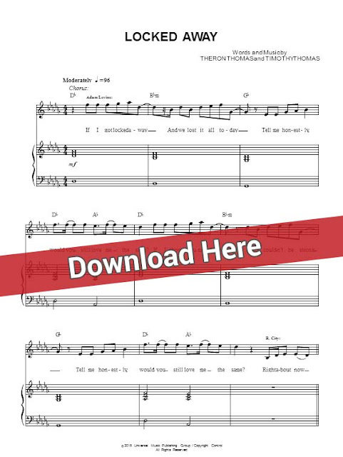 adam levine, locked away, sheet music, piano notes, rock city, score, download, keyboard, guitar, tabs, how to play, learn, for, klavier noten