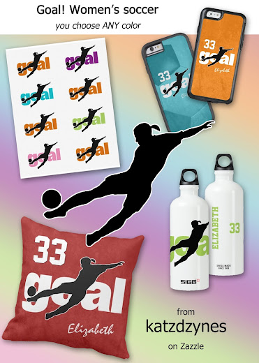 Goal! Women's soccer device cases and gifts collection features the silhouette of a female soccer player kicking a soccer ball for goal and the word goal in white--choose ANY color for the word goal and the background. Also included in this collection are temporary tattoos