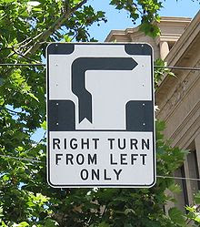 """Hook turn"" sign"