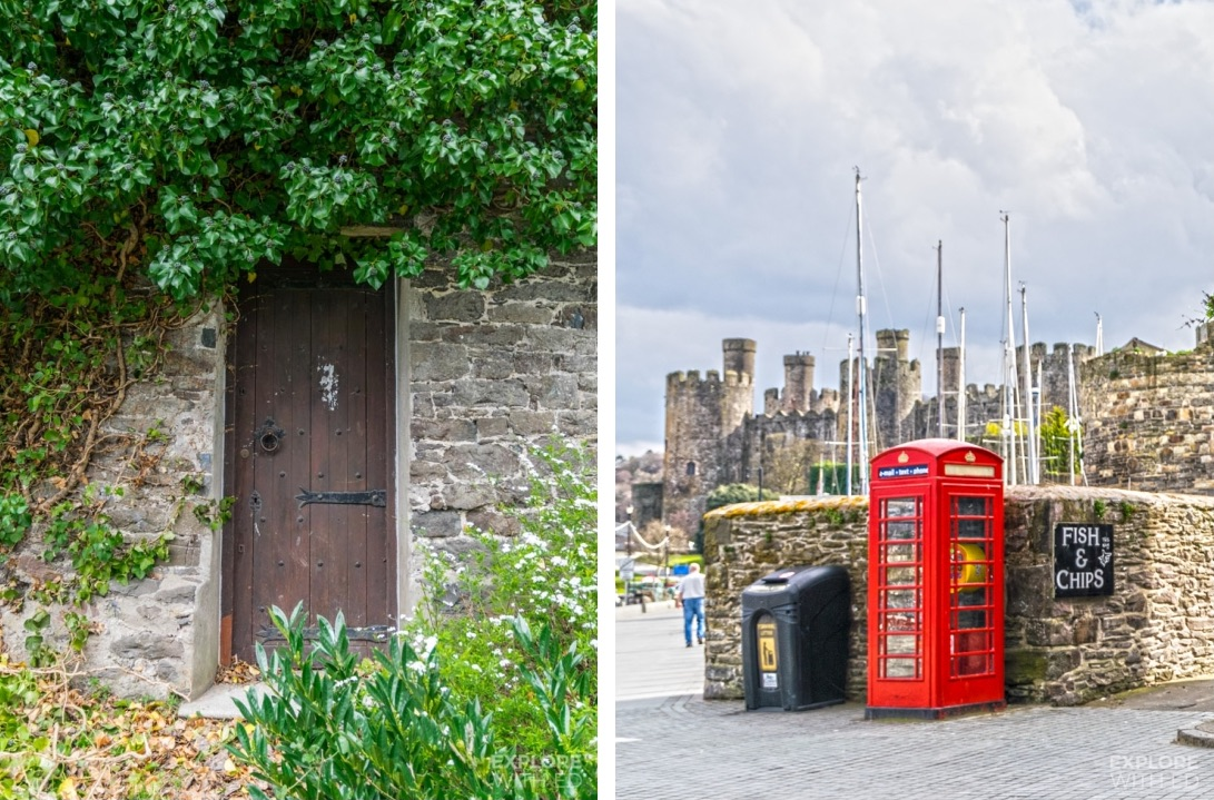 Historical town of Conwy with red telephone box and fish and chips