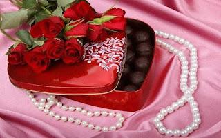 Rosas Rojas chocolates collar de perlas