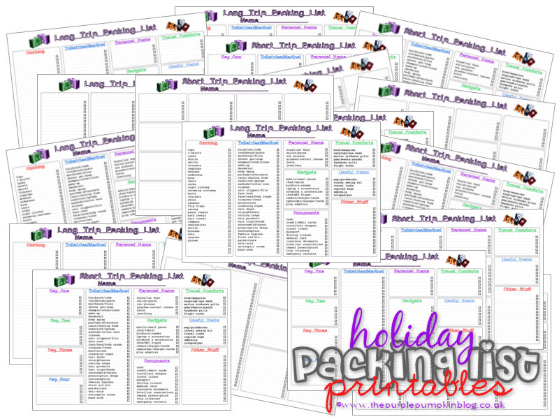 Holiday/Vacation Packing Lists Free Printables