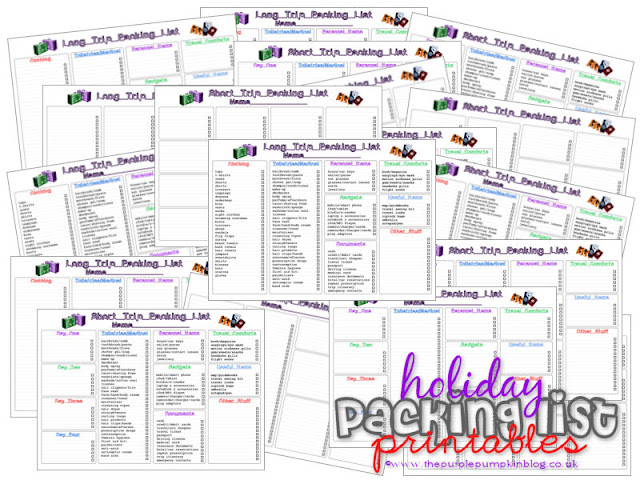 Holiday/Vacation Packing Lists [Free #Printables] | The Purple Pumpkin Blog