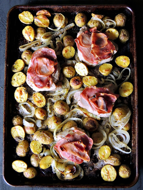 "Simple, and delicious, this Sheet Pan Pork ""Saltimbocca"" is the perfect easy weeknight meal! From www.bobbiskozykitchen.com"