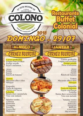 Flyer Cardápio Festa do Colono