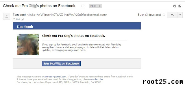 Facebook Phishing email request example