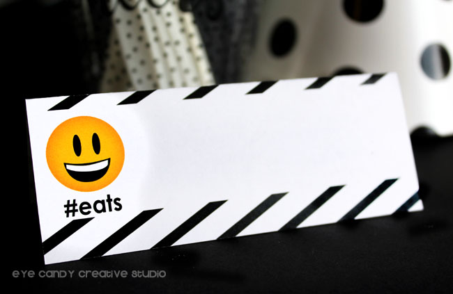emoji birthday party table tents, #eats, black & white stripes, emoji