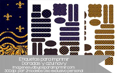 Etiquetas doradas y azules para decorar