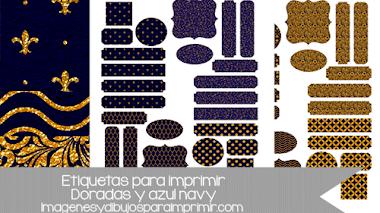 Etiquetas para imprimir y decorar doradas
