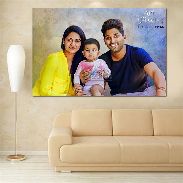 Allu Arjun Family Photo Portrait Paintng Canvas in Hyderabad | Mixed Media Painting - Digital Portrait Painting