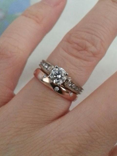 Rose Gold Wedding Band White Gold Engagement Ring