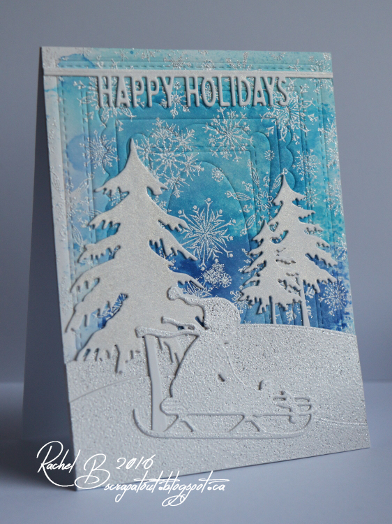 Scrapatout - Handmade card, Impression Obsession, Holidays. Winter, Trees, Snowflakes, Sled