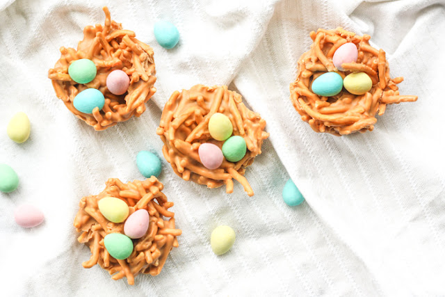 Fun Easter Bakes, No Bake Butterscotch & Peanut Butter Bird's Nest Cookie