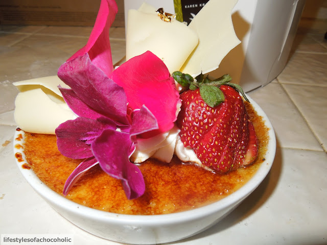 creme brulee from extraordinary desserts on a white counter