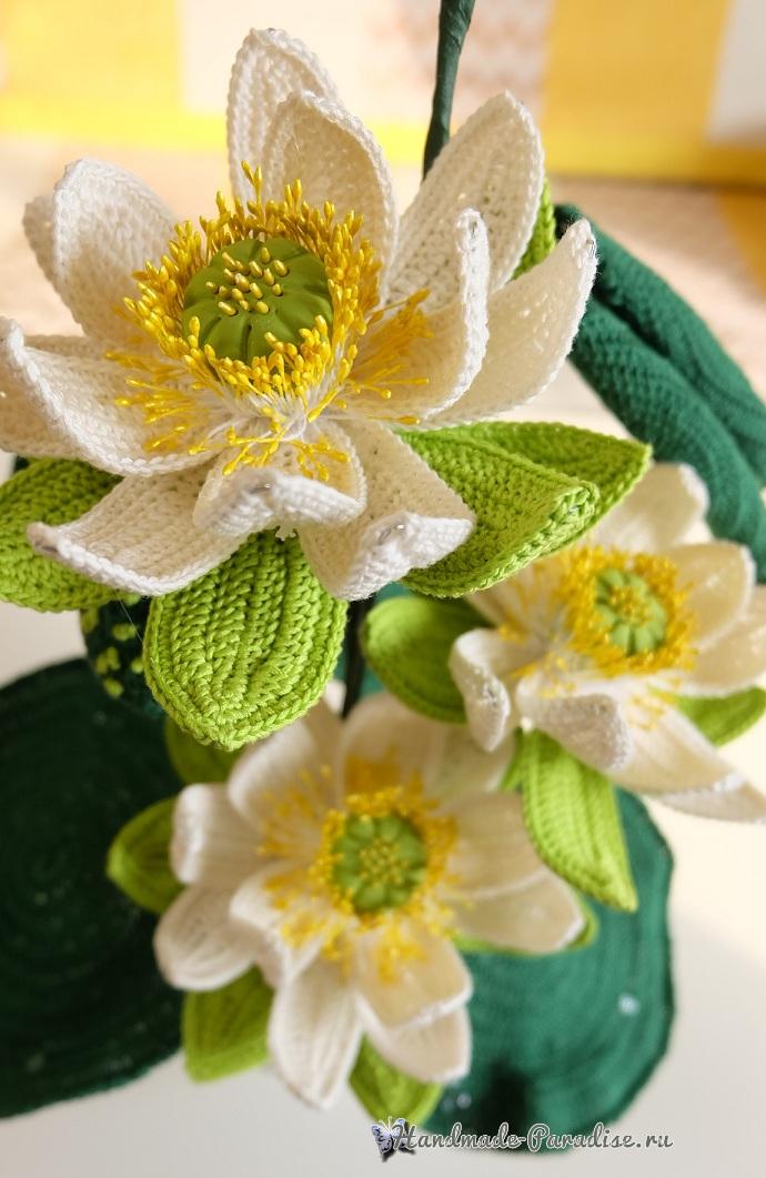 Большие цветы крючком - букет лотосов (6)