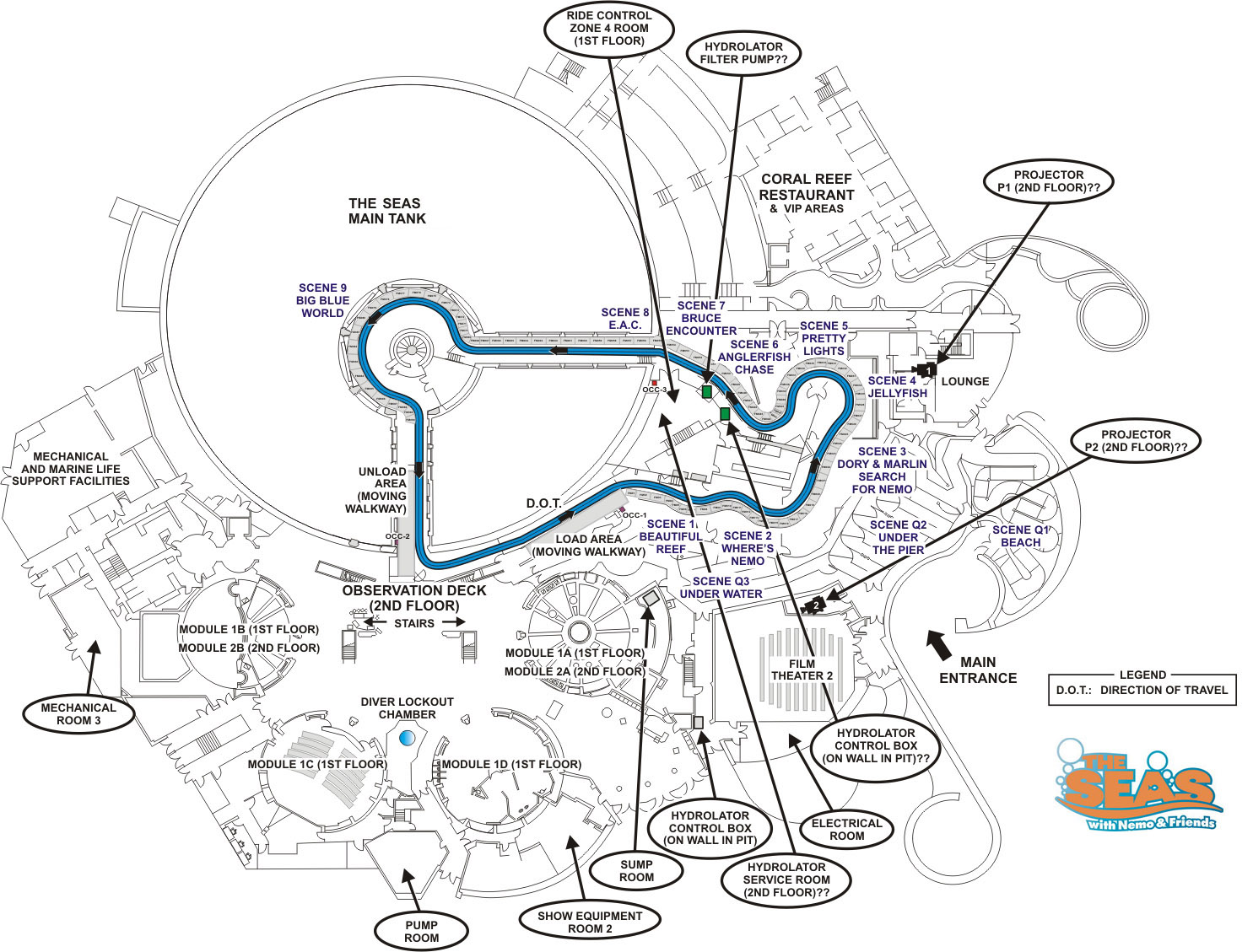 Amusement Authority  The Living Seas Layout Diagram
