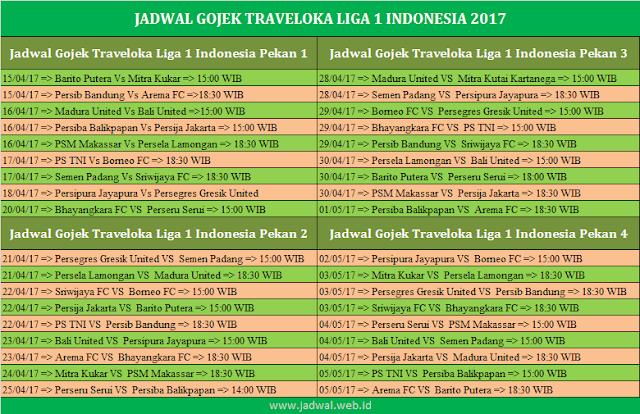 Jadwal Gojek Traveloka Liga 1 Indonesia 2017