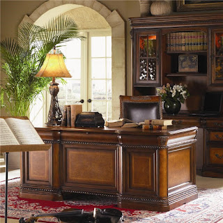 Baers Napa 7 Drawer Executive Desk with Ash Burl Panels and Rope Moulded Base by Aspenhome