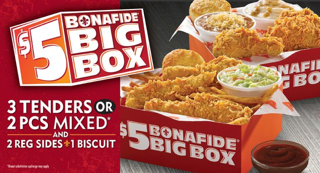 Watch video· About Popeyes $5 Bonafide Big Box TV Commercial, 'It's Big' If your idea of a great meal for a great deal includes two pieces of chicken with two sides and a biscuit for only $5, then the Bonafide Big Box at Popeyes is for you.