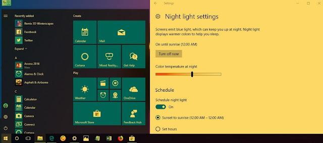 Cara mengaktifkan night light windows 10