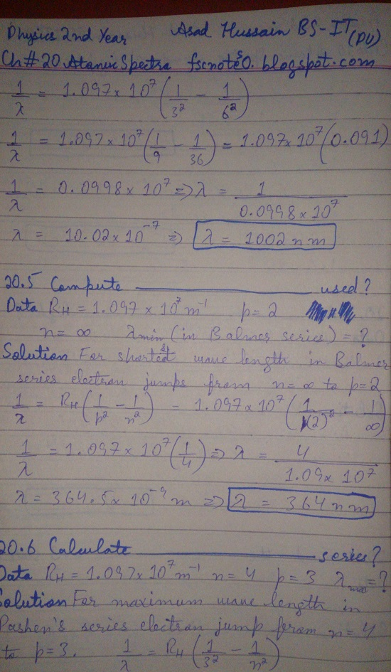 F.Sc ICS Notes: Physics XII: Chapter 20 Atomic Spectra Numerical Problems Asad Hussain 3