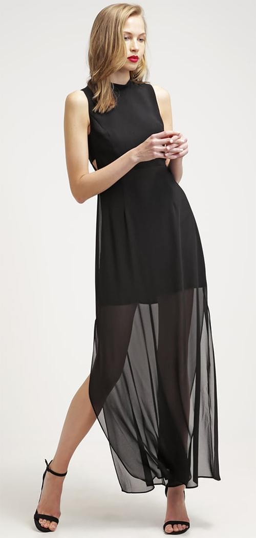 Robe longue d'été fluide et transparente noire BCBGeneration