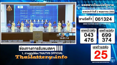 Thailand Lottery Result 02 May 2019 Live Streaming Online