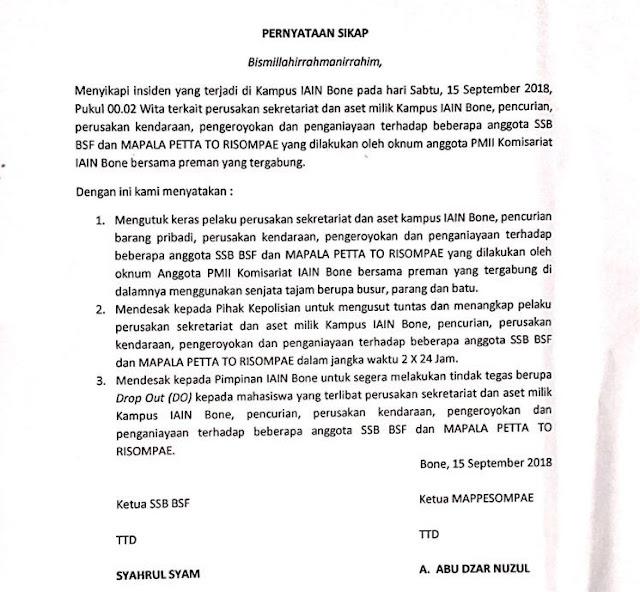 Penyerangan Sekretariat SSB dan Mapala IAIN Bone, Diduga Dilakukan Oknum Anggota PMII