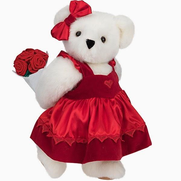 Boneka beruang putih pakai gaun warna merah bawa bunga