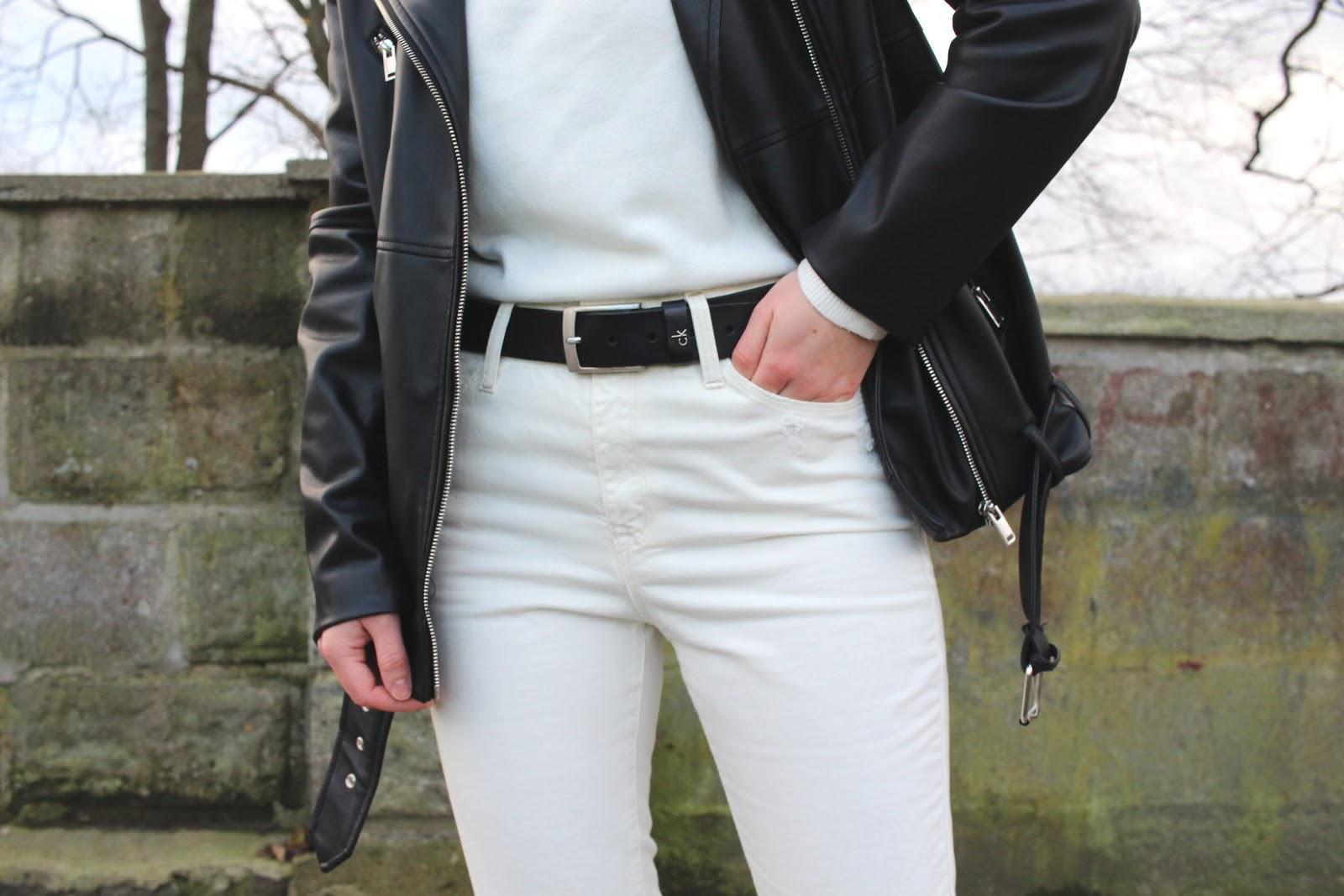 białe dżinsy Mango z dziurami, kurtka biker Zara