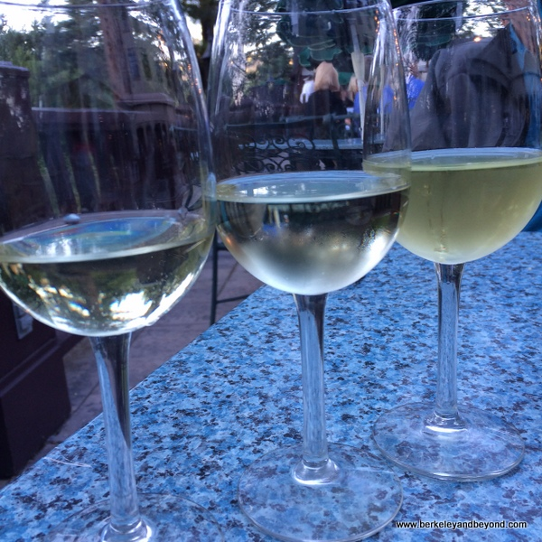 white wine flight at Benbow Historic Inn restaurant in Garberville, California