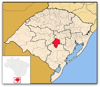 Cidade de Cachoeira do Sul, no mapa do Rio Grande do Sul