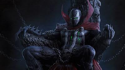 Spawn sentado en su trono de calaveras