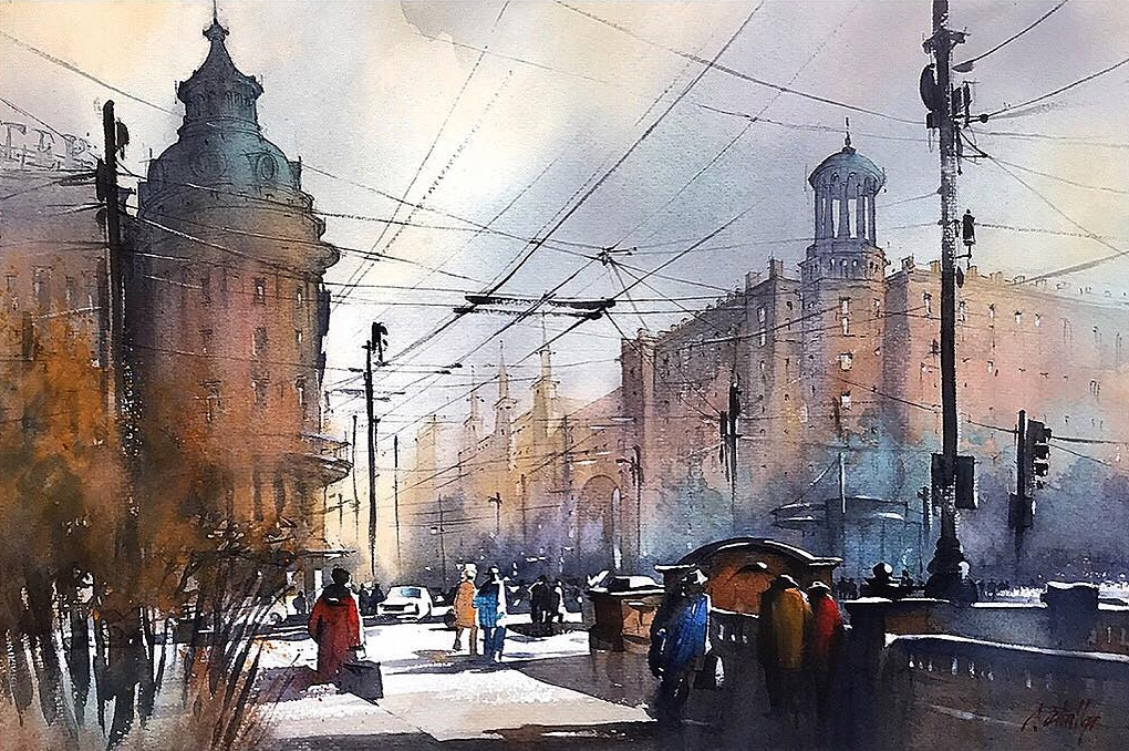 13-Winter-Light-Moscow-Thomas-Schaller-Watercolor-Paintings-Indoors-and-Outdoors-www-designstack-co