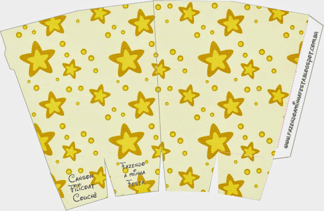 Cajas para palomitas de maíz = pop corns = poporopos de Estrellas Doradas y Rayas de Colores.
