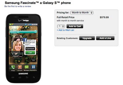 Samsung Fascinate Galaxy S phone available from Verizon
