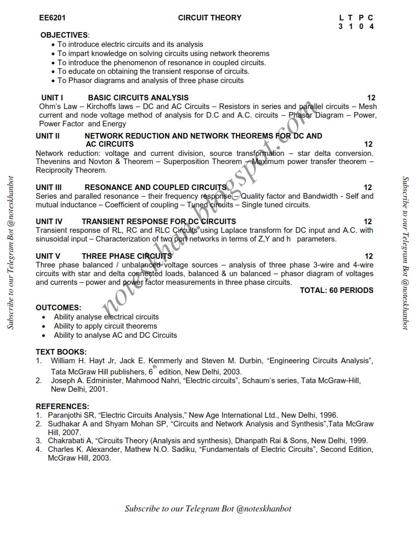 EE6201-Circuit Theory-Syllabus-Semester II-ECE-BE-Anna