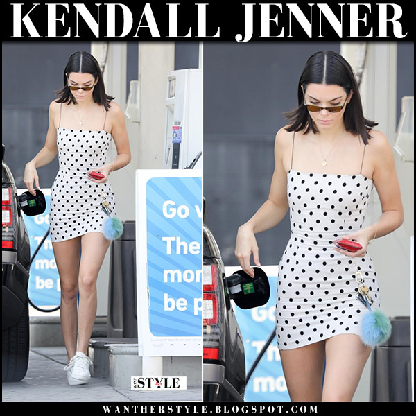 Kendall Jenner in whit polka dot mini dress and white sneakers august 23 2017