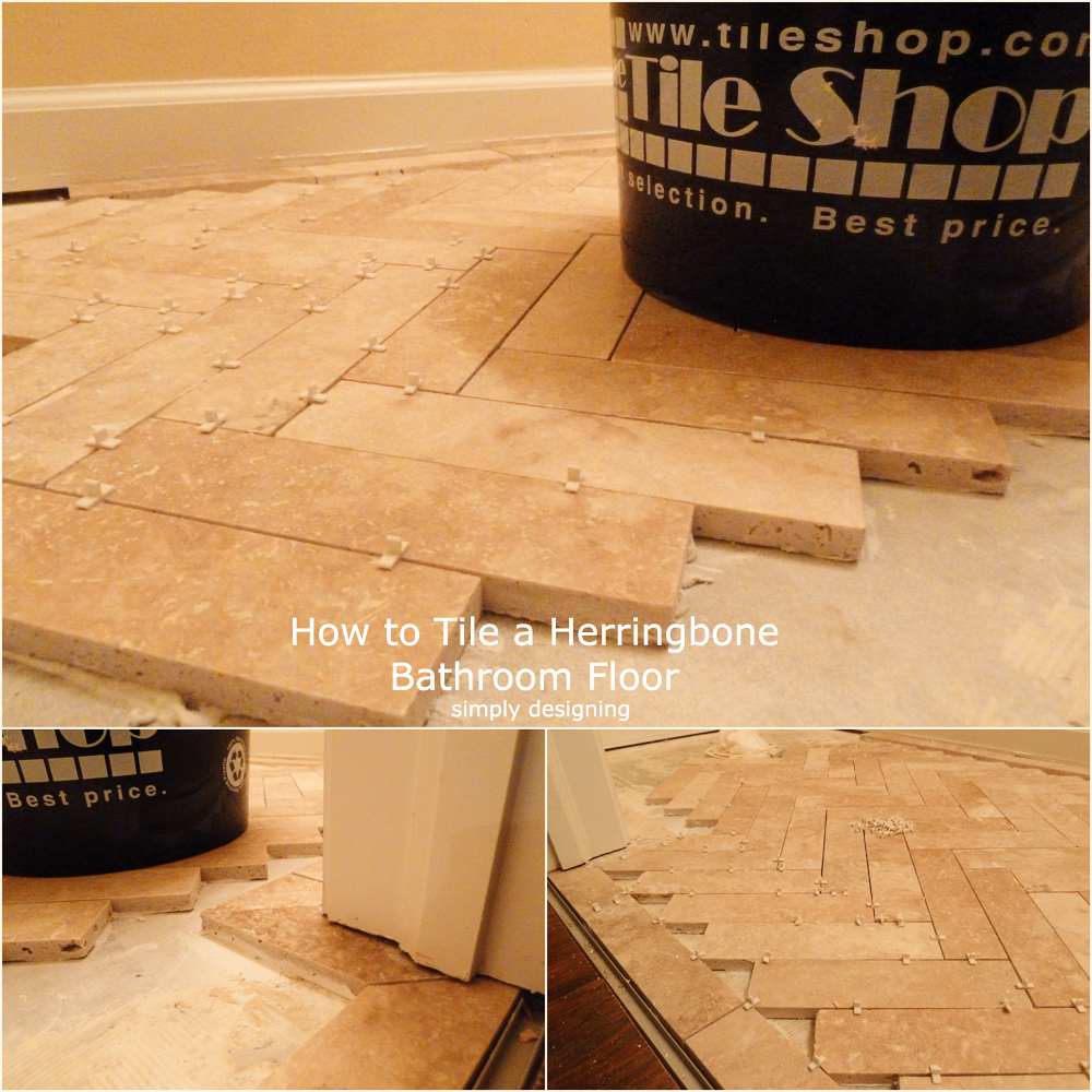 laying bathroom tiles herringbone tile floor how to prep lay and install 13420 | Herringbone Tile Half Bath Collage 04a