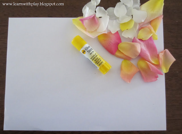 nature picture for kids, kids activities, pasting petals