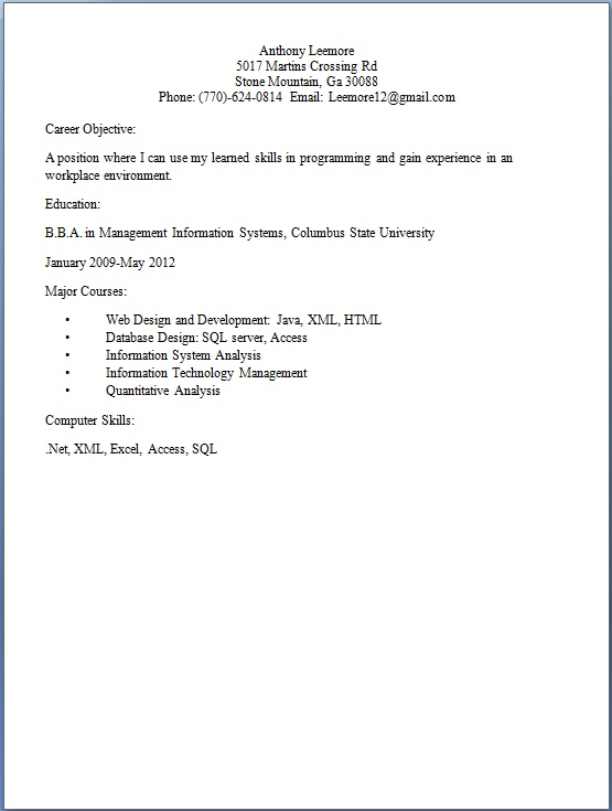 Web Designer Resume Format For Students In Word Free Download