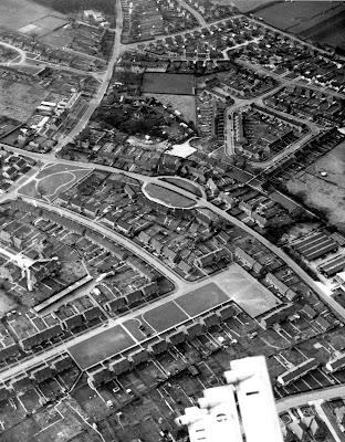 Aerial photograph of Somers Road, Welham Green taken in the 1960s Image from B. H. Warne part of the Images of North Mymms collection